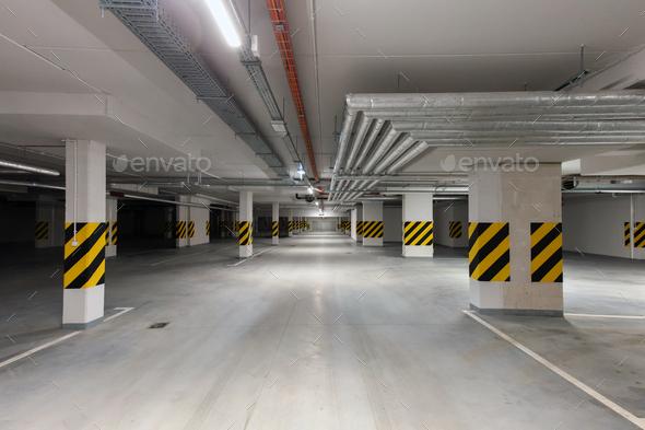 Underground empty parking garage. Modern urban space - Stock Photo - Images