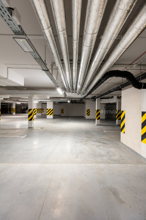 Underground empty parking garage. Modern urban space - Stock Photo - Images