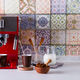Home espresso machine on kitchen countertop with two cups, milk and sugar on sticks. Making coffee - PhotoDune Item for Sale