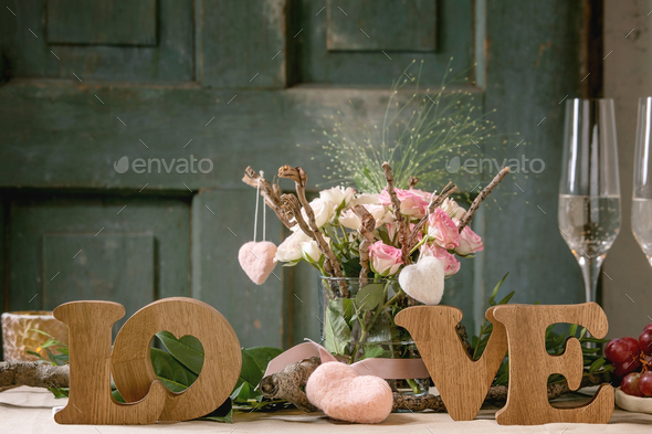 st. Valentines day table setting - Stock Photo - Images