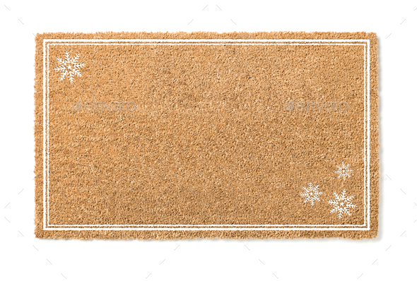 Blank Holiday Welcome Mat With Snow Flakes Isolated on White  Background - Stock Photo - Images