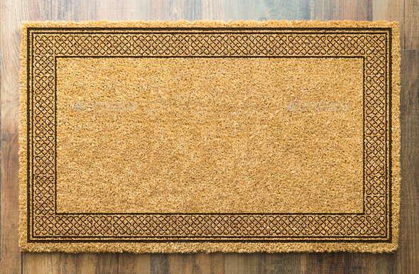 Blank Welcome Mat On Wood Floor Background Ready For Your Own Text - Stock Photo - Images
