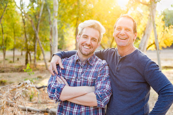 Happy Caucasian Father and Son Portrait Outdoors - Stock Photo - Images
