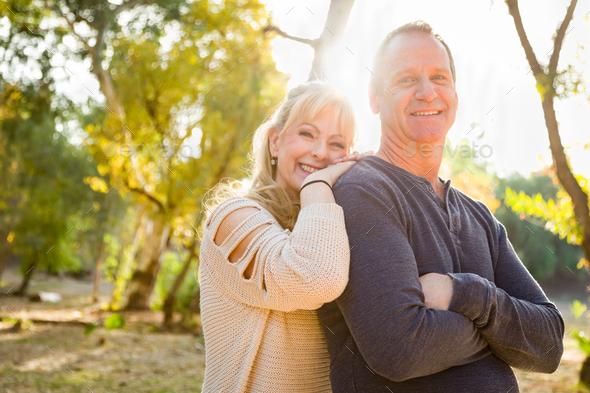Happy Middle Aged Caucasian Couple Portrait Outdoors - Stock Photo - Images