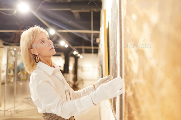 Female Art Gallery Worker Hanging Paintings - Stock Photo - Images