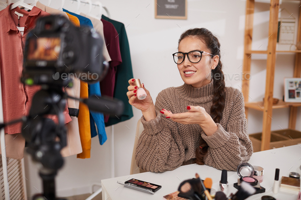 Lifestyle Blogger Filming Video on Beauty and Make up - Stock Photo - Images