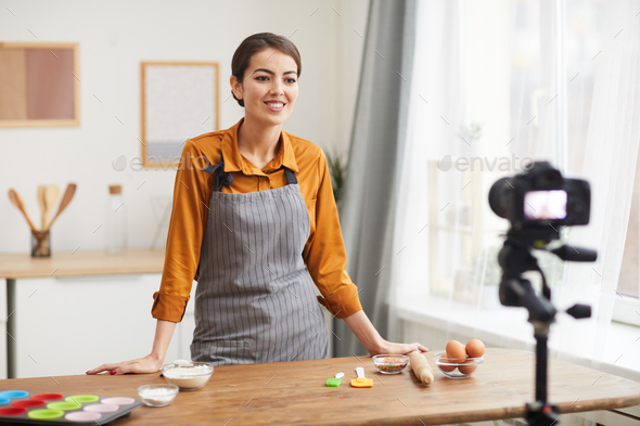 Filming Cooking Video in Kitchen - Stock Photo - Images