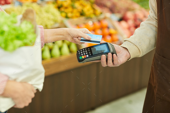 Smartphone Payment in Grocery Shop - Stock Photo - Images