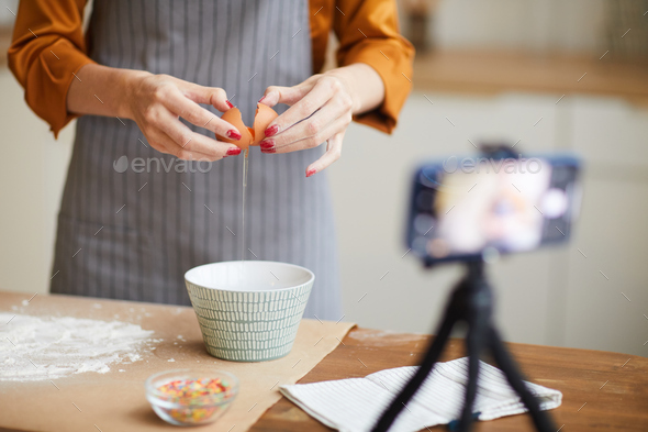 Unrecognizable Woman Filming Baking Video - Stock Photo - Images