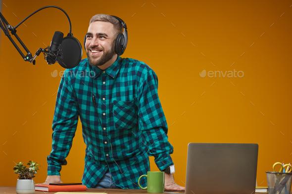 Radio Broadcaster Working In Studio - Stock Photo - Images