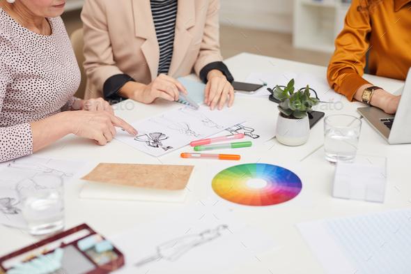 Unrecognizable Fashion Designers Teamwork - Stock Photo - Images