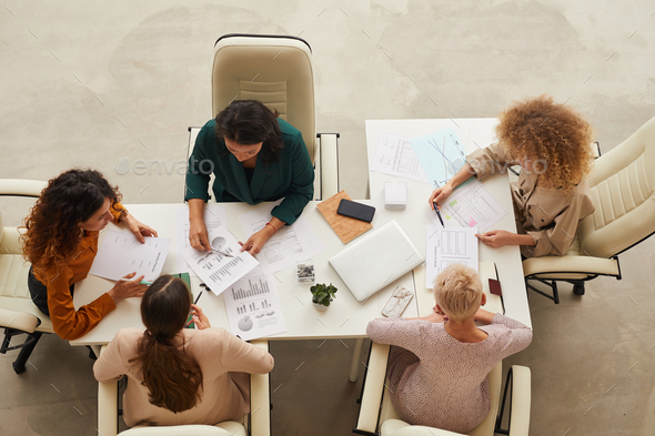 Five Businesswomen Coworking At Meeting - Stock Photo - Images