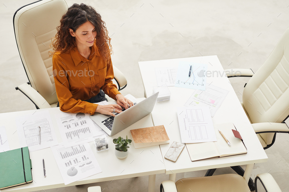 Attractive Woman Working On Laptop - Stock Photo - Images