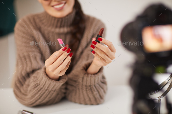 Woman Filming Beauty Tutorial Video - Stock Photo - Images