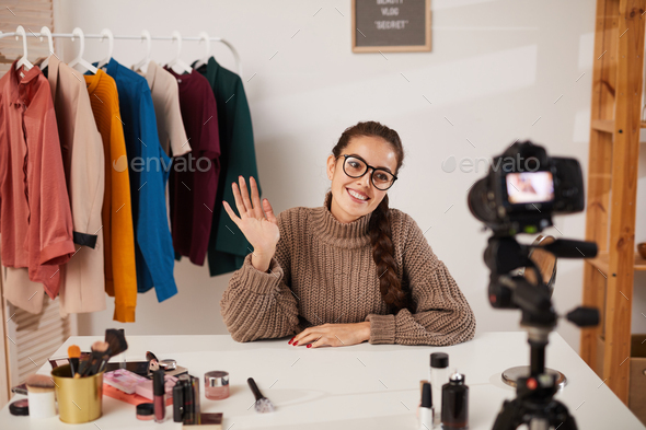 Woman Filming Beauty and Fashion Video - Stock Photo - Images