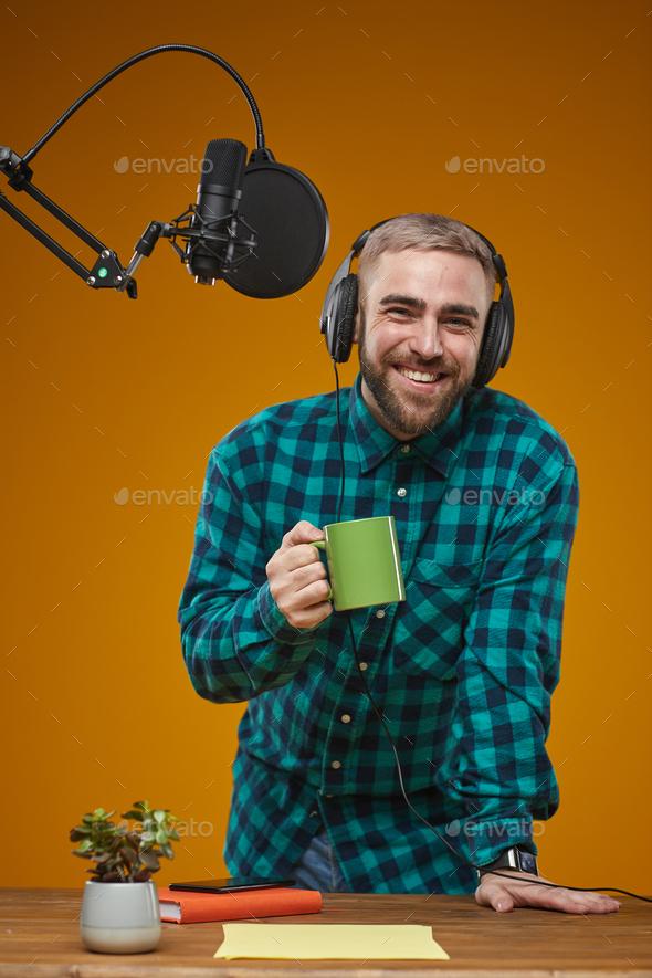 Cheerful Radio Presenter With Coffee - Stock Photo - Images