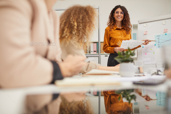 Successful Caucasian Woman Making Presentation - Stock Photo - Images