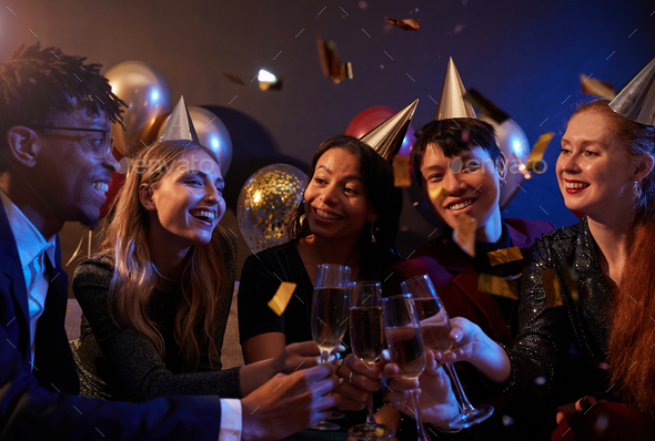 Friends Celebrating at Nightclub Party - Stock Photo - Images