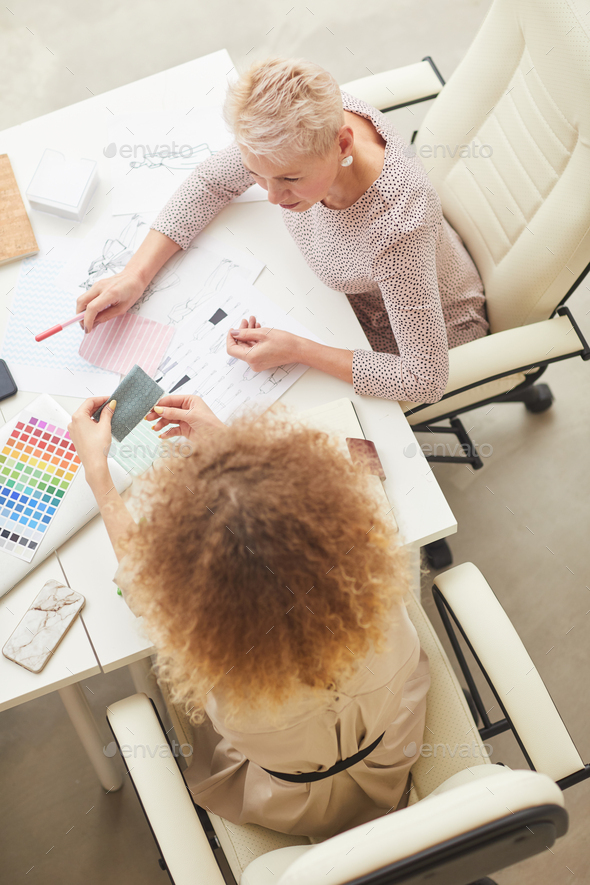 Two Fashion Designers Coworking Top View - Stock Photo - Images