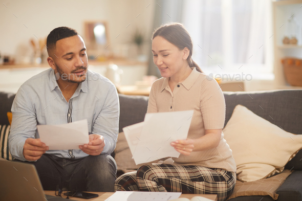Modern Family Doing Taxes - Stock Photo - Images