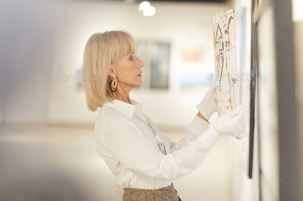 Elegant Woman Hanging Painting in Art Gallery - Stock Photo - Images