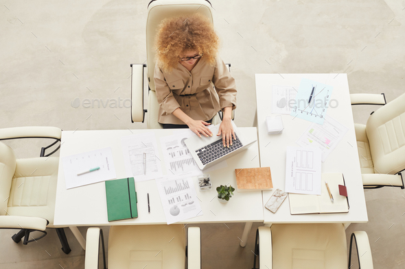 Young Woman Working Top View - Stock Photo - Images