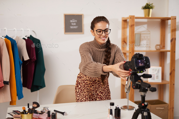 Beauty Guru Setting up Camera - Stock Photo - Images