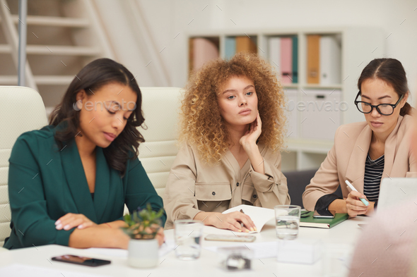 Attentive Businesswomen On Meeting - Stock Photo - Images