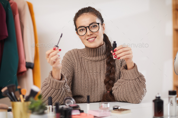 Beauty Blogger Smiling at Camera - Stock Photo - Images