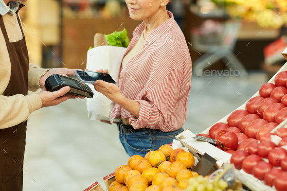 Smartphone Payment in Grocery Store - Stock Photo - Images