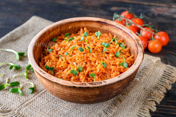 Bowl of Mexican rice - Stock Photo - Images