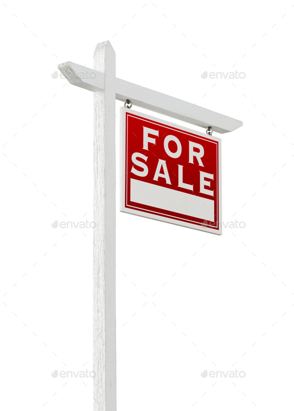Right Facing For Sale Real Estate Sign Isolated on a White Background. - Stock Photo - Images