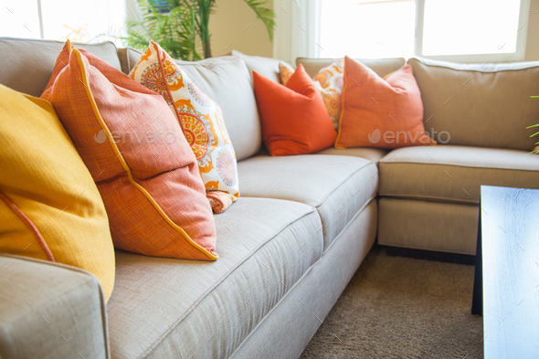 Abstract of Inviting Colorful Couch Sitting Area in House - Stock Photo - Images