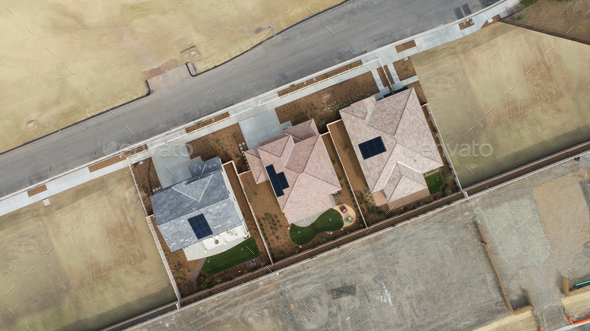 Drone Aerial View of Home Construction Site Final Stage - Stock Photo - Images