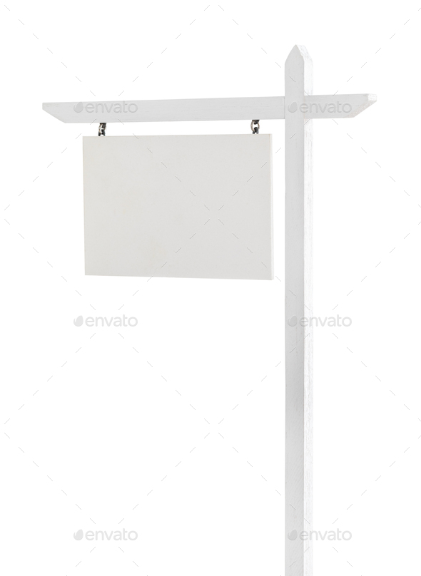 Blank Real Estate Sign Isolated on a White Background. - Stock Photo - Images