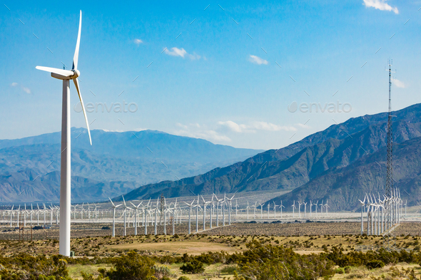 Dramatic Wind Turbine Farm in the Desert of California. - Stock Photo - Images