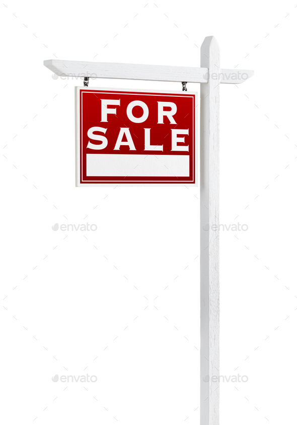 Left Facing For Sale Real Estate Sign Isolated on a White Background. - Stock Photo - Images