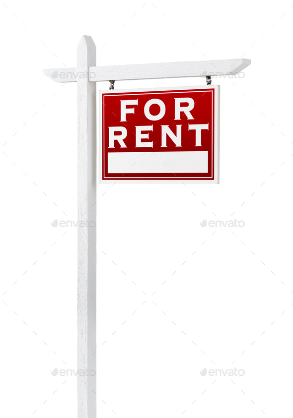 Right Facing For Rent Real Estate Sign Isolated on a White Background. - Stock Photo - Images