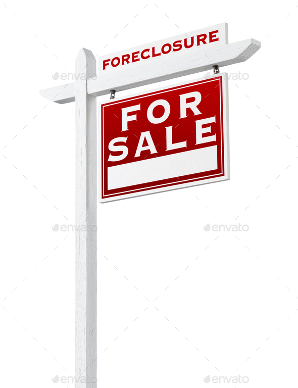 Right Facing Foreclosure Sold For Sale Real Estate Sign Isolated on White. - Stock Photo - Images