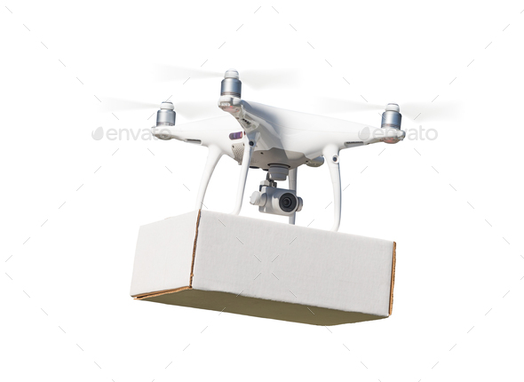 Unmanned Aircraft System (UAS) Quadcopter Drone Carrying Blank Package On White. - Stock Photo - Images