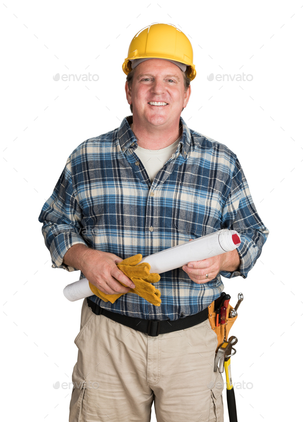 Male Contractor With House Plans Wearing Hard Hat Isolated on White - Stock Photo - Images
