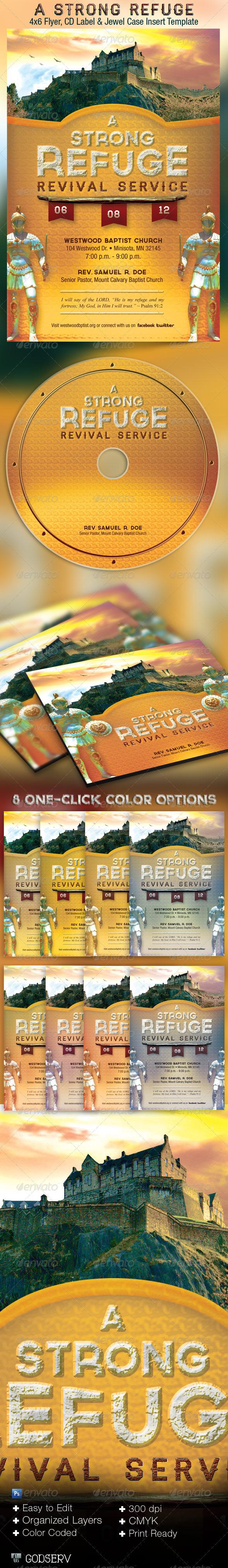 Strong Refuge Church Flyer CD Template - Church Flyers