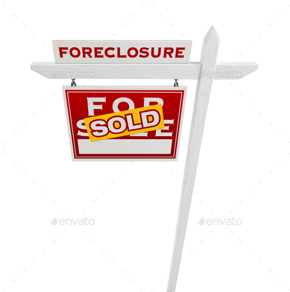 Left Facing Foreclosure Sold For Sale Real Estate Sign Isolated on White. - Stock Photo - Images