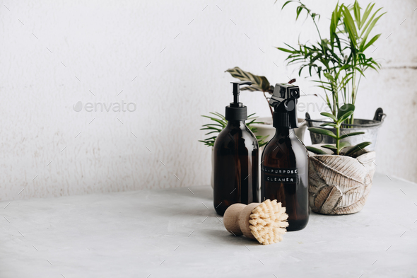 Various items and ingredients for eco home cleaning and house plants - Stock Photo - Images