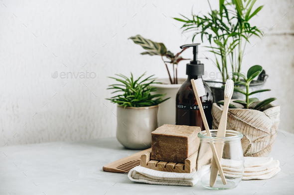 Zero waste, Recycle, Reuse, Sustainable lifestyle concept. Eco-friendly bathroom accessories - Stock Photo - Images