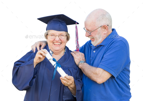 Senior Adult Woman Graduate in Cap and Gown Being Congratulated By Husband Isolated on White. - Stock Photo - Images