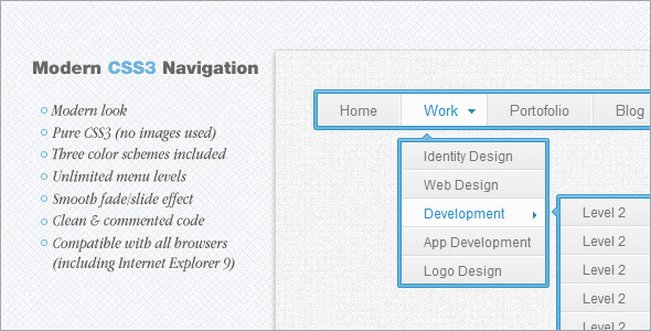 Download nulled Modern CSS3 Navigation