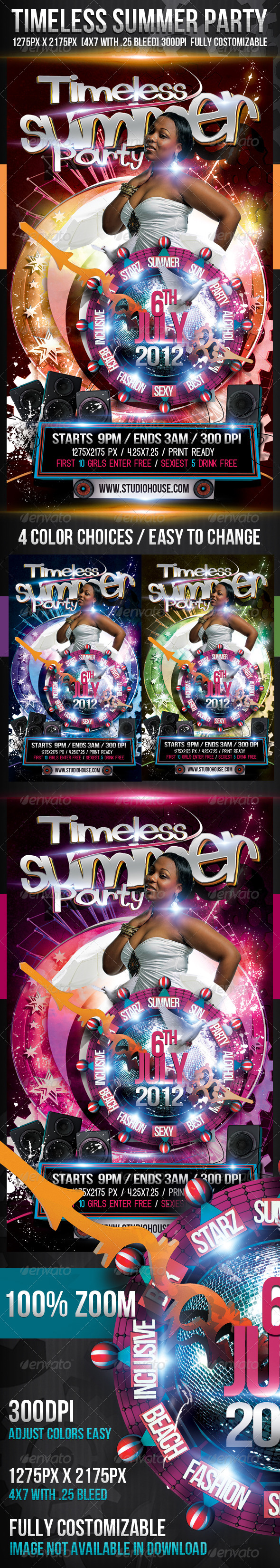 Timeless Summer Party - Events Flyers