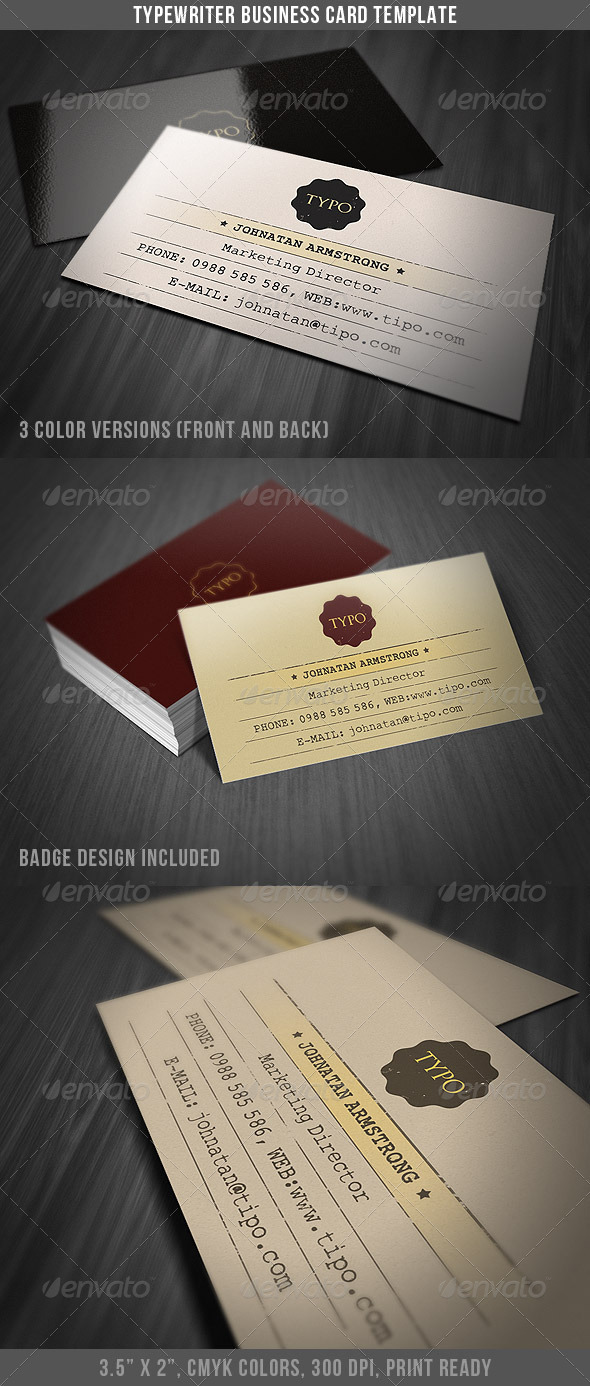 Typewriter Business Card Template - Retro/Vintage Business Cards