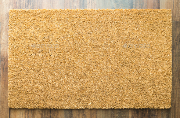 Blank Welcome Mat On Wood Floor - Stock Photo - Images